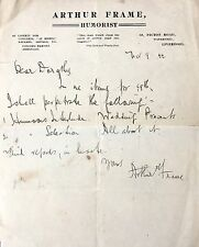 ARTHUR FRAME EARLY LIVERPOOL COMEDIAN / 'HUMORIST' SIGNED LETTER DATED 1877