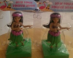 Two (2) Solar Power Dancing Hula Girls Dancers Toys NEW