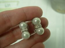 STUNNING 2 TIER WHITE PEARLS WITH RHINESTONE BAND CLIP ON EARRINGS 3/4""