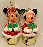 Disney Santa Mickey Mouse & Minnie Mouse Jingle Bell Christmas Tree Ornament