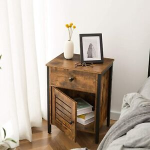HOOBRO Nightstand End Table with Storage Cabinet and Drawer Retro Bedside Table