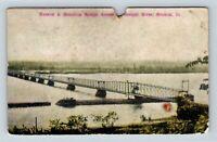 Keokuk IA, Hamilton Bridge Mississippi River Vintage Iowa c1910 Postcard