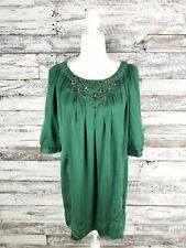 Tracy Porter Dress Decorative Rhinestones 100% Silk 3/4 Sleeve Emerald Green Lg