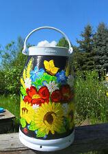 Milchkanne-Bodenvase-.Handbemalt-Sonnenblumen-Mohn-Mageriten-Schneemann-Blau