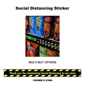 Shelf, Wall Floor decals stickers 2m social distancing Keep your distance shops