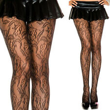 Sexy Sheer Black Vintage Fishnet Floral Lace Pattern Panythose Tights Stockings