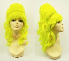 Neon Green Yellow Long Wavy Beehive Wig 1960s Sixties Funky Retro Costume