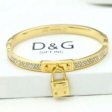 "DG 6.5""Women's Gold Stainless Steel*ICED-OUT CZ Bangle Charm Bracelet*Unisex*Box"