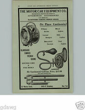 1905 PAPER AD Phare Continental Headlight Lamp Bulb Horn Car Auto Automobile