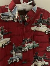 M Santa Claus Vintage Diner Holiday Button Shirt Christmas Medium Classic Cars