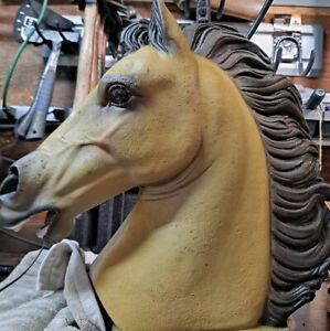 """Life-like HAND PAINTED 16"""" Stallion Horse Head Bust Stone Sculpture Statue 31lbs"""