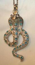 Handsome Teal Blue Green Rhinestone Curled Cobra Snake Silvertn Pendant Necklace