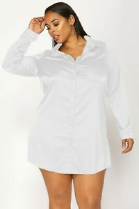 Women White Satin Plus Size Shirt Long Blouse Solid Collar Casual Party Wear Top