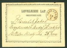 HUNGARY TOWN CANCEL on 1871 2kr POSTAL CARD - MEZO CSATH