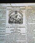 WILLIAM HENRY HARRISON for President & John Tyler for VP Notice 1839 Newspaper