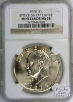 1978 Eisenhower Dollar Struck 5% Off Center Mint Error NGC MS-65; Flashy Gem!