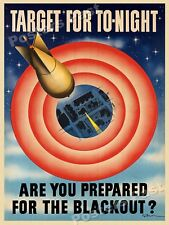 """Are You Prepared For the Blackout?"" 1941 Vintage Style WW2 War Poster - 18x24"