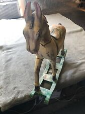 Vintage Antique Hand Carved Solid Wood & Hand-Painted Rocking Horse