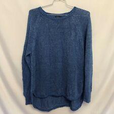 Polo Ralph Lauren Blue Linen Knit Pullover Sweater Sz XL Scoop Neck Long Sleeve