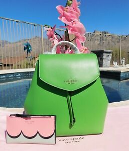 🌸 NWT Kate Spade Lizzie Medium Flap Backpack Bag Leather Turaco Green NEW $329