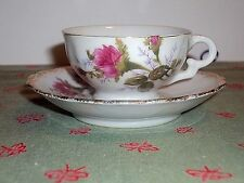 "Footed Demitasse Cup& Saucer ""Old Moss Rose"" scalloped gold Band Ucagco Japan"