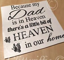 DAD IN HEAVEN IN OUR HOME VINYL DECAL STICKER FOR IKEA RIBBA BOXFRAME DIY GIFT