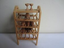 Vtg Dollhouse Miniature Natural Unfinished Wood Wine Rack with Bottles & Glasses