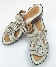 Born Women's Sandals Hand Crafted Leather Cream Colored Strappy Flowers Size 9