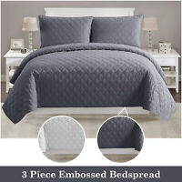 Embossed Quilted Bedspread Bed Throw Comforter 3 Piece Bedding Set +Pillow Shams