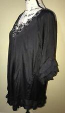 Gossip Girl by Romeo & Juliet Couture Black Ruffle Dress Metallic Lace Beads S