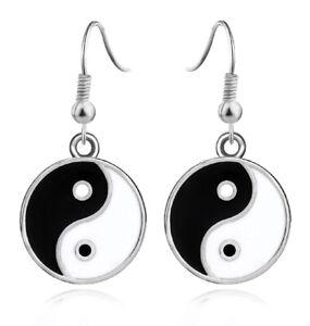 Black and white enamel yinyang yin yang dangle earrings