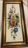 Vintage Capodimonte 3D Rose Flowers Wall Plaque Hanging Porcelain Italy