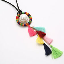 Hot Bohemian Simulated Pearl Tassel Pendant Necklace Women Sweater Necklace