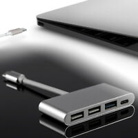 For Macbook Phone Type C To USB 3.0 Hub + PD Charger Cable Adapter 4-Ports