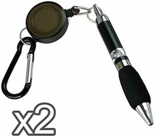 🔥2x Ball Point Pens Retractable Belt Clip Cord Keyring Chain Carabiner Buckle