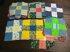 """SET 30 NINE 9 PATCH quilt blocks 6"""" CALICO PRINTS BLUE YELLOW GREEN PINK BROWN"""