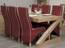 Z solid oak designer furniture large dining table and six leather chairs set