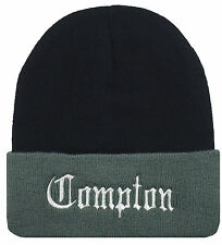 NEW COMPTON EMBROIDERED CUFFED BEANIE CAP HAT BLACK/GRAY