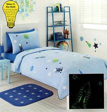 NIGHT SKY ROCKETS/PLANETS/STARS GLOW IN THE DARK QUILT COVER SET DOUBLE NEW