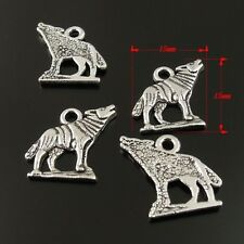 36515 Vintage Silver Alloy Wolfs Animal Pendant Charms Finding Crafts 24pcs