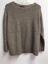 Eileen Fisher Alpaca Silk Blend Sweater Taupe SzS Italian Yarn