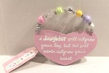 Wishes & Kisses Pink Daughter Ceramic Plaque Sign Wall Hanging with Wire & Beads