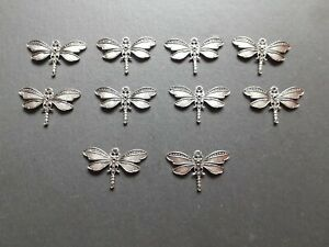 10 x Antique Silver Plated Dragonfly Pendants Trays Bezels Jewellery Findings