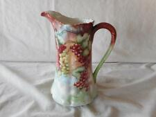 Vintage Hand Painted Limoges Red Green Currants & Leaves Cider Pitcher