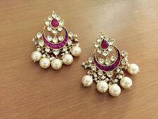 Gold Plated Handmade Wedding Jewelry Sets Kundan Jadau Polki Earrings Tops Stud