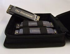 Harmonica boxed set of 3 Bluesman Black Edition - keys of C, D, G - starter pack