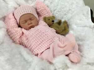 REBORN DOLL HEAVY GIRL FAKE BABY BALD PINK KNITTED OUTFIT MAGNETIC DUMMY L