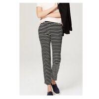 LOFT Women's Riviera Marisa Black/White Stripe Cropped Ankle Pants (Size 4)