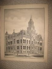 ANTIQUE 1875 ZANESVILLE MUSKINGUM COUNTY COURTHOUSE OHIO LITHOGRAPH PRINT RARE
