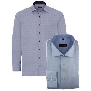 ETERNA Herren Langarm Hemd Comfort Fit Kent blau weiß Kariert Patch 3856.E15K